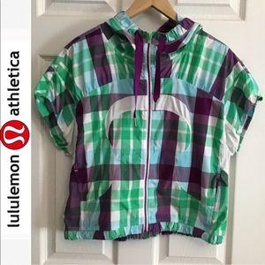 Rare Lululemon Run With It Plaid vest hoodie